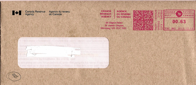 Canada Revenue Agency Statement of Financial Position Letter Sent in Mail