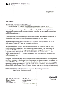 Calgary CRA Tax Consultant Letter from the CRA